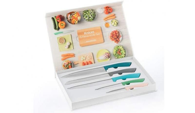Комплект ножове от неръждаема стомана в свежи пастелни цветове