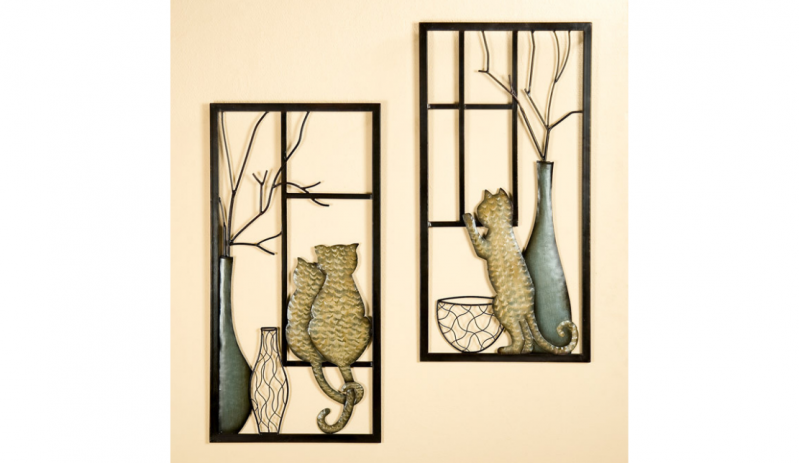 """Декорация за стена """"Котка с ваза"""""""