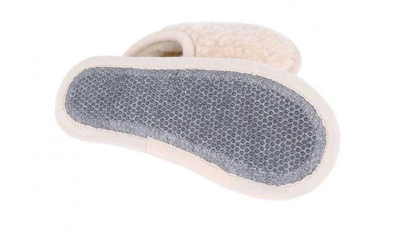Вълнени домашни чехли Мерино Беж от естествена мериносова вълна сертифицирана с  Woolmark®, цвят бежов