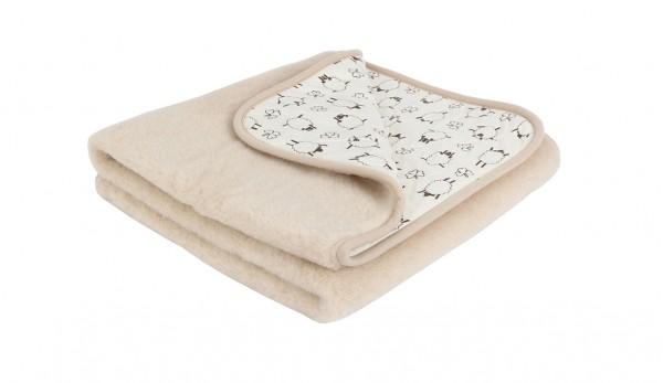 Детско вълнено одеяло Mocha (Cacao) от естествена камилска и мерино вълна + естествен памук размер 95x135 cm