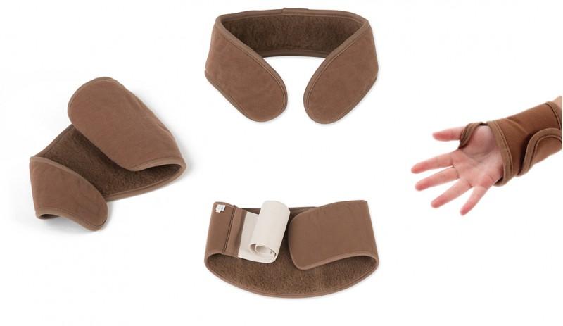 Комплект от четири части Camel- Вълнени колан за кръст, яка, накитник и наколенка
