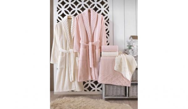 Семеен комплект от хавлии и халати за баня от 100% памук, 450 гр./м2